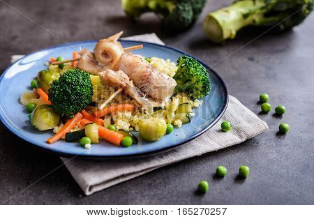 Roasted Cod Rolls With Millet And Steamed Vegetable