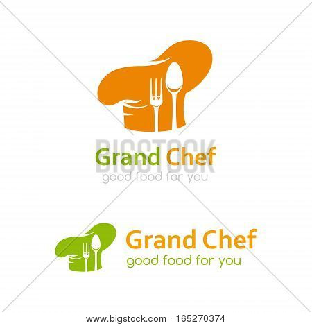 Chef logo template. Icon of cook hat with fork and spoon silhouettes. Vector symbol for menu restaurant cafe bistro. Two color variants
