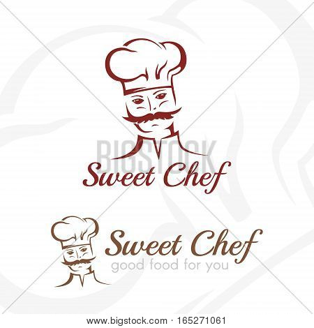 Sweet chef logo. Illustration of whiskered cook in classic style. Vector element for restaurant menu cafe bistro design.