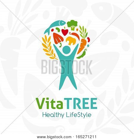 Healthy lifestyle logo. Human with raw food. Vector icon template for vegan restaurant diet menu natural products fitness club family farm. Light background