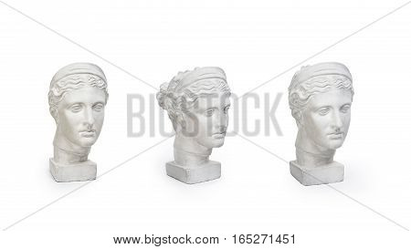 Set of marble head of young woman, ancient Greek goddess bust isolated on white background with copy space for text