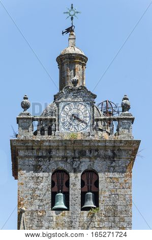 Steeple detail with clock in Viseu Portugal