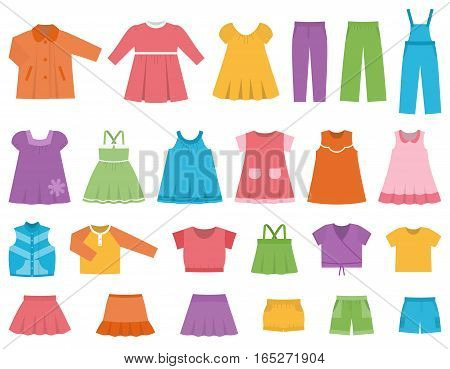 Baby clothes for girls. Vector set clothing on white background including dresess skirts shorts pants tops and t-shirt. Colorful illustration.