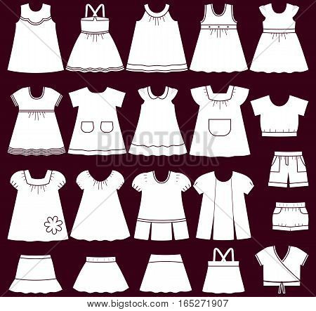Baby clothes icons. Set of children's clothing for girls. Vector illustration.