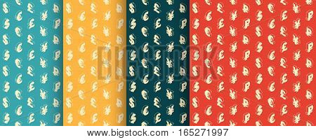 Seamless retro patterns with isometric line icons currency symbols. Vintage design. Vector illustration. Background.