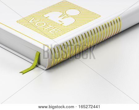 Political concept: closed book with Gold Ballot icon on floor, white background, 3D rendering
