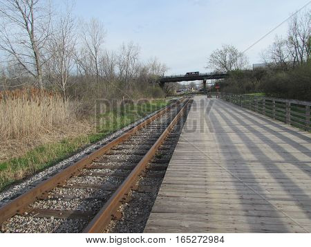 A  Railroad  Line  and  Platform  in  Independence,  Ohio.