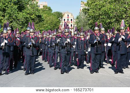 CORFU, GREECE - APRIL 30, 2016: Philharmonic musicians playing in Corfu Easter holiday celebrations. Corfu has a great tradition in music, with 18 philharmonic bands playing a major role on the island's music education and culture.