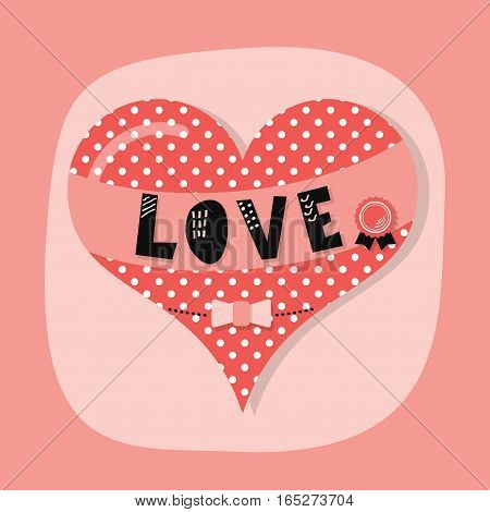 Cute spotty and dotted heart emblem with word LOVE banner and award bow on pink background