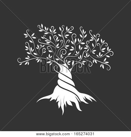 Olive tree outline curl silhouette icon isolated on dark background. Web graphics stroke modern vector sign.Premium quality illustration logo design concept pictogram.