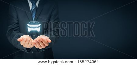 Car (automobile) insurance and collision damage waiver concepts. Insurer (insurance agent) with protective gesture and icon of a car. Left wide banner composition.
