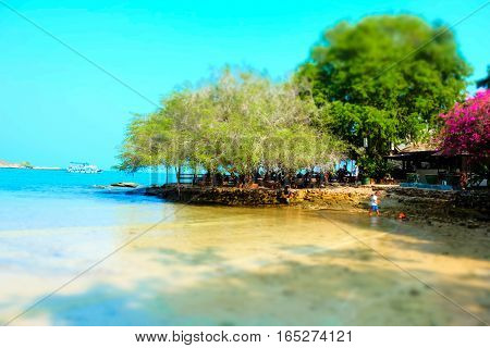 Turquoise sea water view on Koh Samet island in Thailand. Perfect beach getaway in warm tropical country