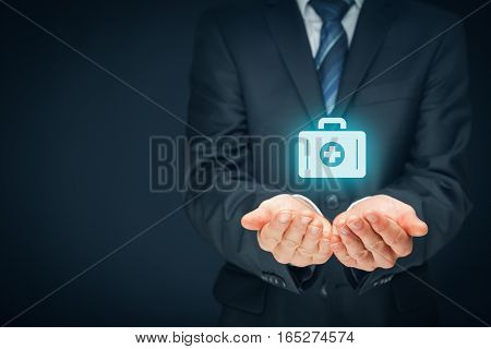 Medical (health) and life insurance concept. Insurance agent with protective gesture and icon of nurse briefcase. Right composition.