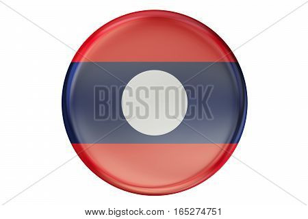Badge with flag of Laos 3D rendering isolated on white background