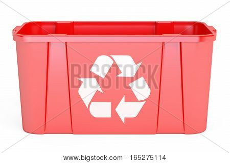 red recycling bin 3D rendering isolated on white background