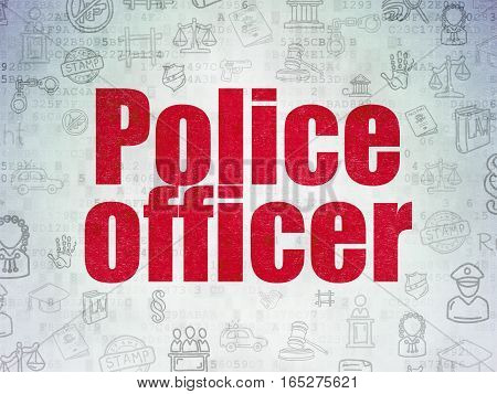 Law concept: Painted red text Police Officer on Digital Data Paper background with   Hand Drawn Law Icons