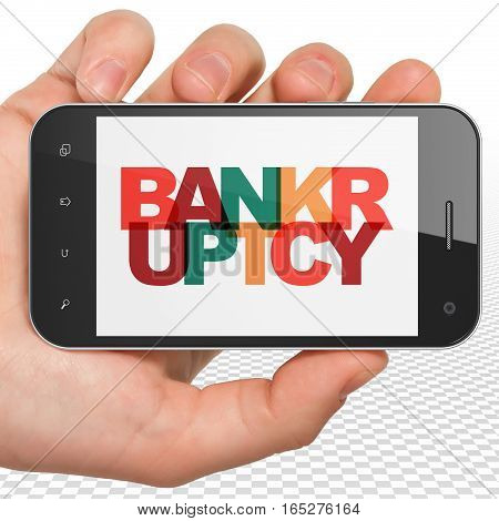 Law concept: Hand Holding Smartphone with Painted multicolor text Bankruptcy on display, 3D rendering