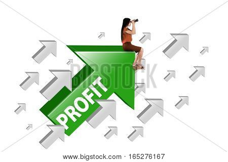 Image of a female manager sitting on the green upward arrow with profit word and looking through binocular