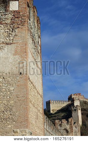 Soave Verona Italy Old Castle With Medieval Walls
