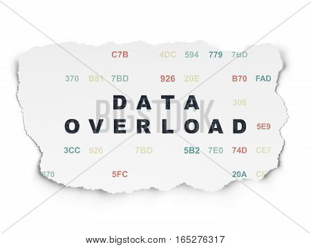 Information concept: Painted black text Data Overload on Torn Paper background with  Hexadecimal Code