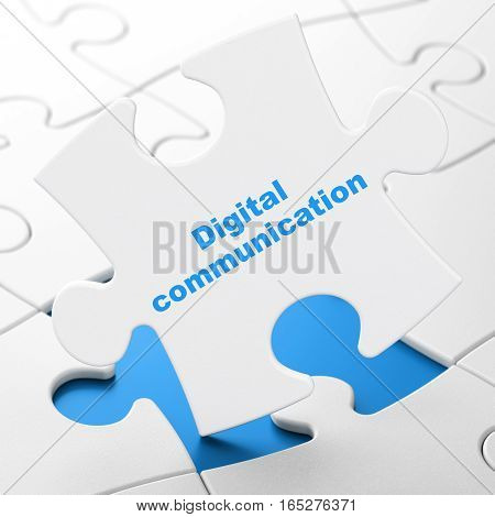 Information concept: Digital Communication on White puzzle pieces background, 3D rendering