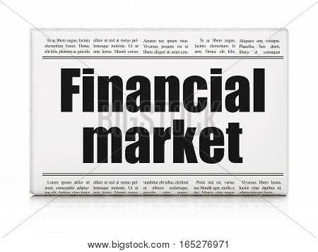 Currency concept: newspaper headline Financial Market on White background, 3D rendering