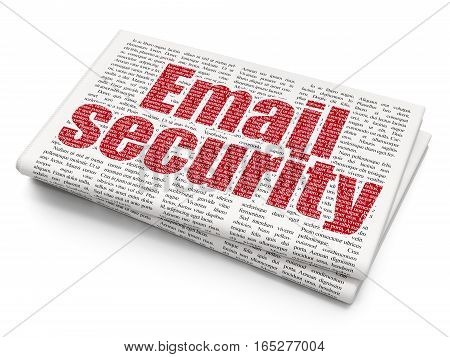 Security concept: Pixelated red text Email Security on Newspaper background, 3D rendering