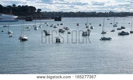 Water transport in port of Saint-Malo, Bretagne France