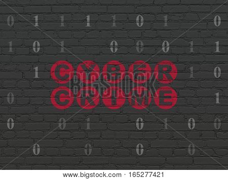 Security concept: Painted red text Cyber Crime on Black Brick wall background with Binary Code