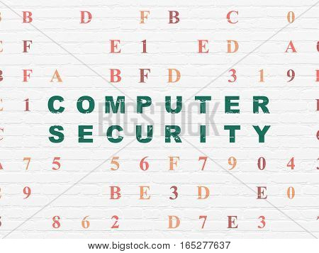 Security concept: Painted green text Computer Security on White Brick wall background with Hexadecimal Code
