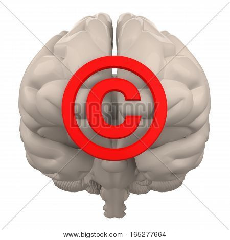 brain with copyright symbol isolated on white 3d rendering