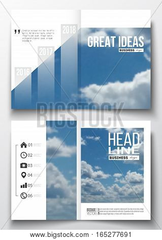 Set of business templates for brochure, magazine, flyer, booklet or annual report. Beautiful blue sky, abstract background with white clouds, leaflet cover, business layout, vector.