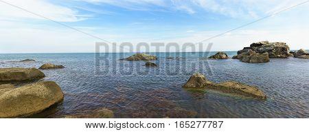 Panorama of rocky coast of the Black sea. Crimea Russia