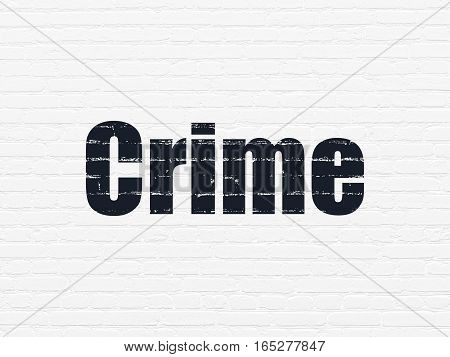 Privacy concept: Painted black text Crime on White Brick wall background