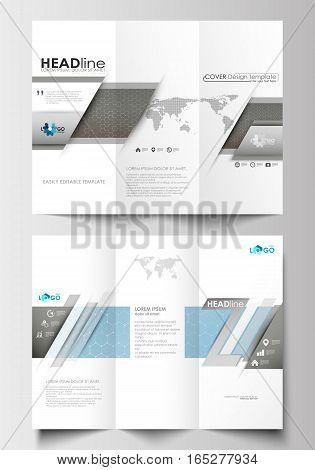 Tri-fold brochure business templates on both sides. Easy editable abstract layout in flat design. Scientific medical research, chemistry pattern, hexagonal design molecule structure, science vector background.