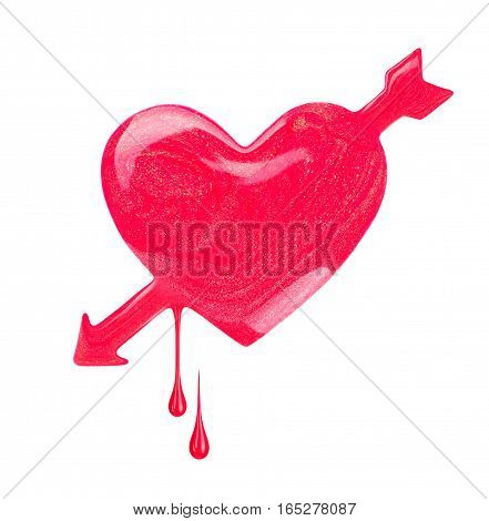 Plash of nail polish in the form of heart with arrow. Concept image dedicated to St. Valentine's Day