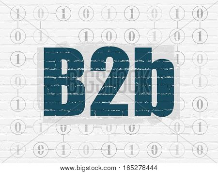 Business concept: Painted blue text B2b on White Brick wall background with Scheme Of Binary Code