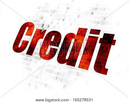 Finance concept: Pixelated red text Credit on Digital background