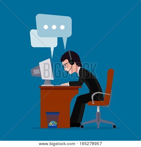 On the image presented Man the businessman worker cent call far off with clients.vector  illustration