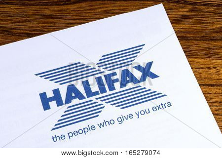 LONDON UK - JANUARY 13TH 2017: The logo for Halifax Bank on one of their information leaflets on 13th January 2017. Halifax is the UK's largest provider of residential mortgages and savings accounts.