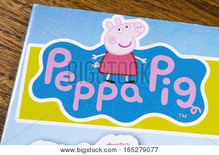 LONDON UK - JANUARY 13TH 2017: The logo for the Peppa Pig show featured on a leaflet for the Peppa Pig World Amusement Park on 13th January 2017.