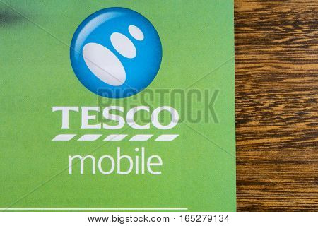 LONDON UK - JANUARY 13TH 2017: A close-up of the Tesco Mobile logo on a promotional leaflet on 13th January 2017.
