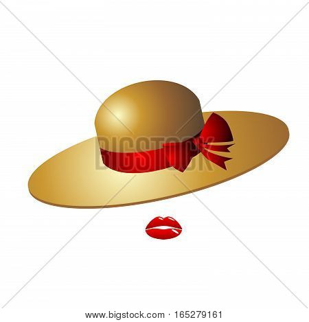 Cute female glamor hat with a red bow. It is made of straw or felt. Red bow emphasizes stylish lip color in the image. Illustration on white background
