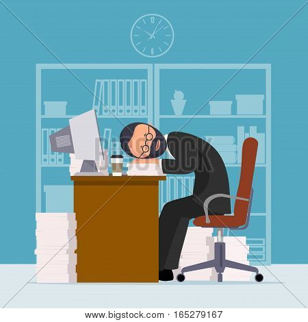On the image presented Comical image of office worker who has fallen asleep in a workplace,  vector illustration.