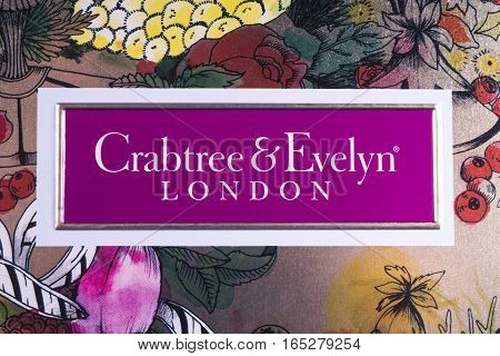 LONDON UK - JANUARY 13TH 2017: A close-up of the Crabtree & Evelyn company logo on 13th January 2017. The compay are a global retailer body fragrance and home care products.