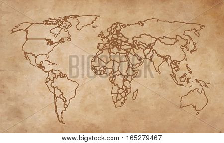 On the image presented world map on an old piece of paper