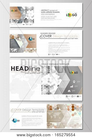 Social media and email headers set, modern banners. Business templates. Cover design template, easy editable, abstract flat layout in popular sizes. Abstract gray color business background, modern stylish hexagonal vector texture.