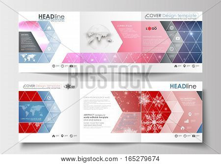 Set of business templates for tri-fold brochures. Square design. Leaflet cover, abstract flat layout, easy editable blank. Christmas decoration, vector background with shiny snowflakes