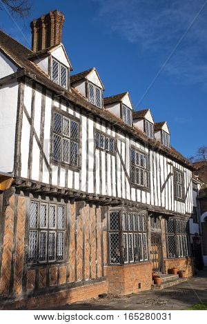 COLCHESTER UK - JANUARY 14TH 2017: The beautiful Tudor style architecture of the building that houses Tymperleys tea room in the historic town of Colchester on 14th January 2017.