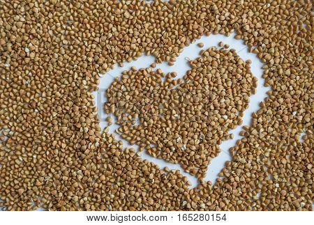 Background from buckwheat. Healthy eating for breakfast